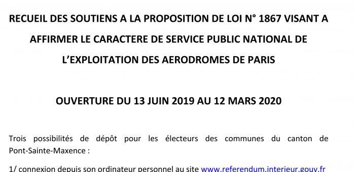 Recueil des soutiens à la proposition de loi s'opposant à la privatisation de la société Aéroports de Paris