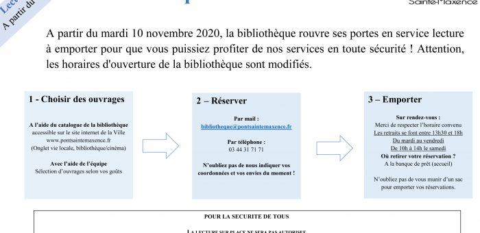 """La bibliothèque va proposer le service """"Lecture à emporter"""" à partir du mardi 10 novembre."""